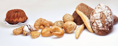 several breads: Bread and other baked goods