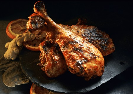 barbecued: Barbecued turkey legs with orange and ginger LANG_EVOIMAGES