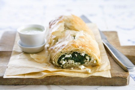 filo pastry: Filo pastry with spinach and feta filling