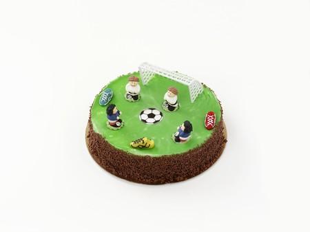 futbol infantil: Una torta de cumpleaños decorada con motivos de fútbol