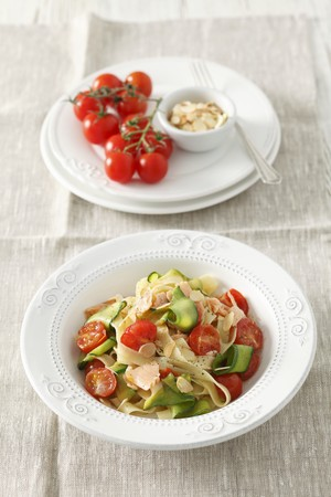 Tagliatelle with salmon and vegetables