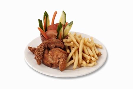nuggets de poulet: Nuggets de poulet avec des frites et l�gumes