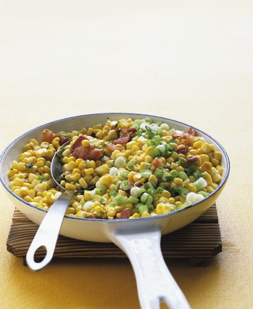 scallions: Sauteed corn, bacon and scallions LANG_EVOIMAGES