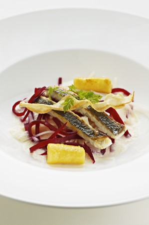gilthead bream: Gilt-head bream with parsley root and cooked beetroot LANG_EVOIMAGES