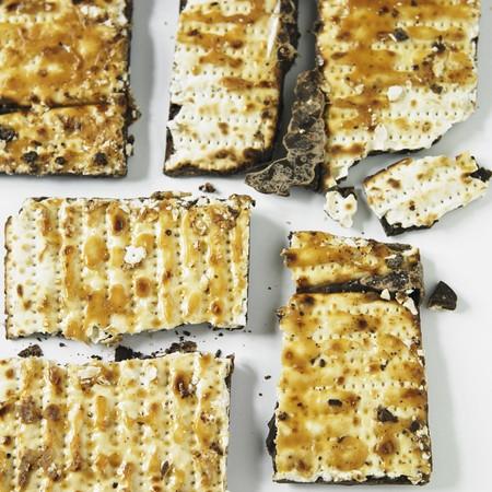 matzos: Caramel and Chocolate Dipped Matzah Close Up