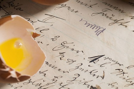 eggshell: Detail of a recipe in old German handwriting, and an eggshell