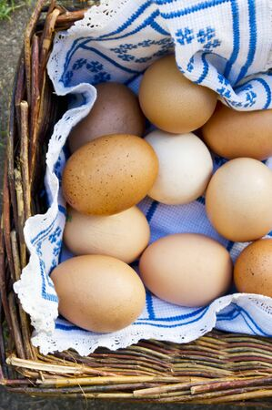 brownish: Brown hens eggs in a basket (view from above)