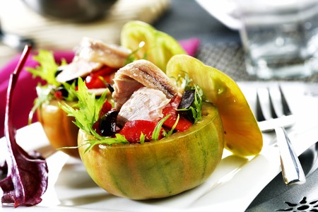 tunafish: Stuffed tomatoes with tuna salad, olives and peppers