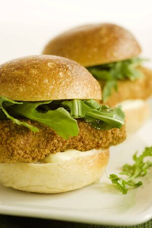 food: Battered and Fried Tofu Sandwiches with Arugula and Mayo LANG_EVOIMAGES