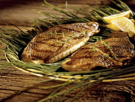 salmo trutta: Grilled Trout on Sea Grass; Lemon Wedges