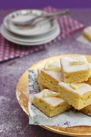 lemon slices: A stack of lemon slices dusted with icing sugar LANG_EVOIMAGES