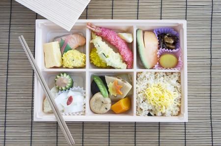 bento box: Bento box with fish, tempura, rice etc. (Japan)