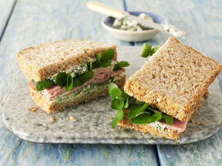 water cress: Ham sandwich with watercress