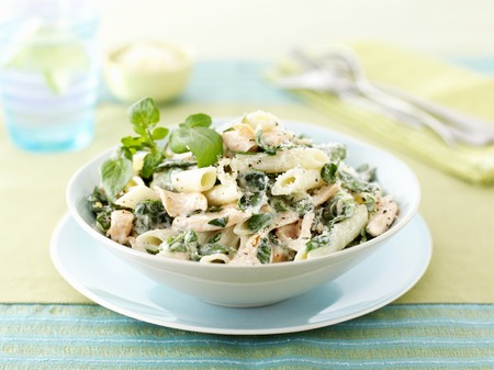 watercress: Penne with salmon and watercress