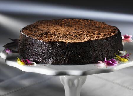 chocolate truffle: A chocolate truffle cake on a cake stand