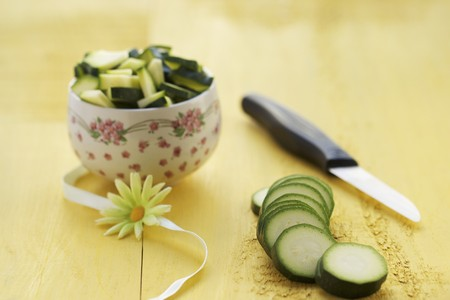 courgette: Sliced courgette