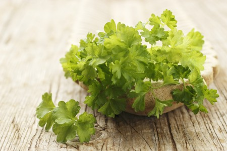 stone bowl: Parsley in a stone bowl