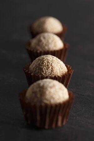 slaty: A row of cappuccino truffle pralines