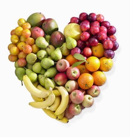 감귤류의 과일: 바나나, 사과, 배, 감귤류의 과일과 매실로 만든 과일 심장