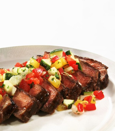 sautee: Sliced Steak with Diced Sauteed Vegetables
