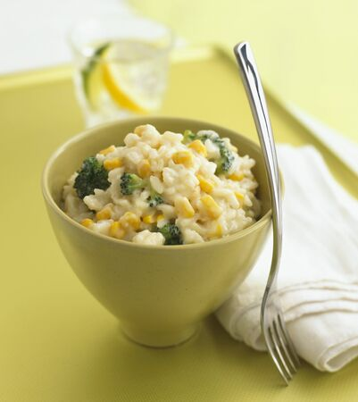 mealie: Risotto with sweetcorn and broccoli