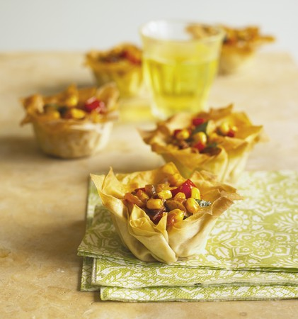 filo pastry: Filo pastry baskets filled with vegetable chilli