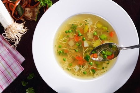 noodle soup: Noodle soup with vegetables (view from above)