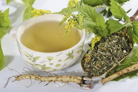 nature cure: Herbal tea made from herbs, flowers and medicinal plants