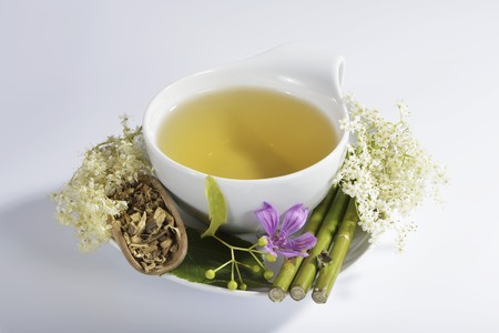teas: Herbal tea made from flowers and medicinal plants
