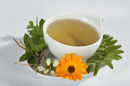 complementary therapy: A cup of herbal tea with marigold, dead-nettle, lemon balm, silverweed, peppermint and valerian root