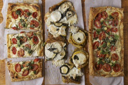 cocozelle: Puff Pastry Pizzas Topped with; Ricotta Cheese, Pesto, Cherry Tomatoes; One Topped with Zucchini and Summer Squash