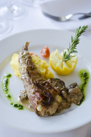 fish tail: Monk fish tail with mash
