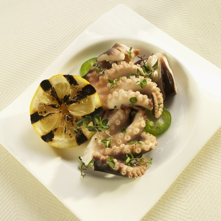 wild marjoram: Greek Marinated Octopus with Herbs and Grilled Lemon
