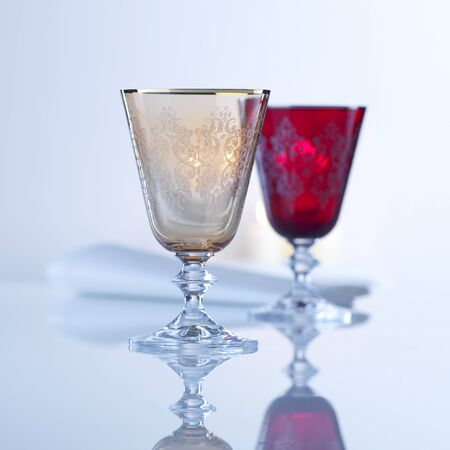 cutglass: Two coloured cut-glass wine goblets LANG_EVOIMAGES