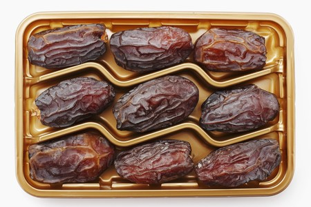 dactylifera: Dried Medjool dates in plastic packaging