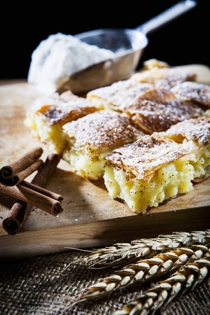 filo pastry: Bougatsa (breakfast pastries made from filo pastry and semolina pudding with cinnamon, Greece)