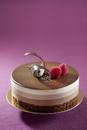 torte: Three-layer chocolate torte with raspberries