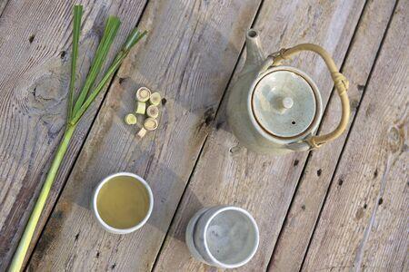 lemongrass: Lemongrass tea, tea paraphernalia and fresh lemongrass