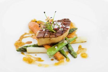 Fried foie gras on spring vegetables