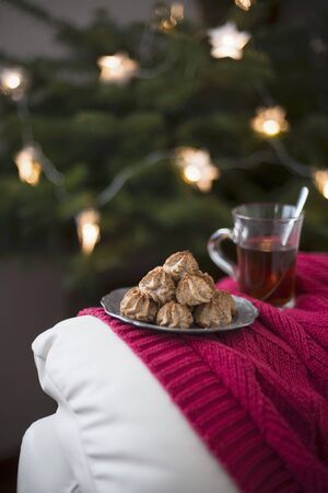 Nut biscuits and a glass of tea at Christmas