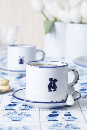 delftware: Espresso cups decorated with porcelain stickers (Dutch-style designs)