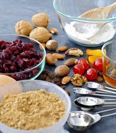vaccinium macrocarpon: ingredients for fruit and nut cake