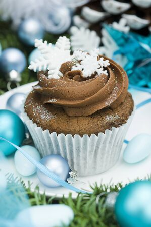 free me: Christmas cupcake decorated with snow flakes LANG_EVOIMAGES