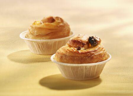 danish puff pastry: Danish pastries in paper muffin cups
