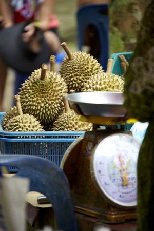 market stall: Market stall with durian fruit
