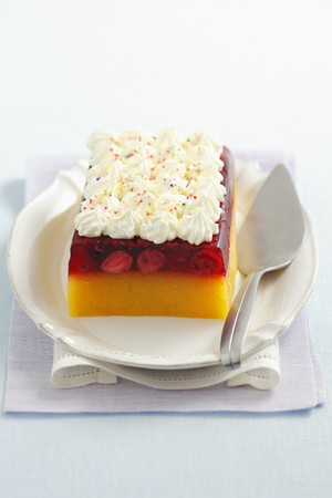 turned out: Peach-berry jelly topped with whipped cream