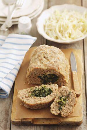 meatloaf: Pork meatloaf with spinach and feta