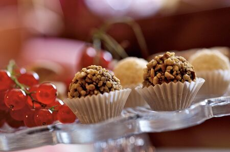 food: Filled chocolates covered with chopped nuts