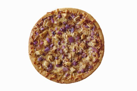 qs: Grilled Chicken and Red Onion Pizza; From Above on a White Background