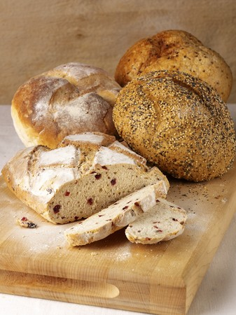 several breads: Cranberry bread and seeded bread